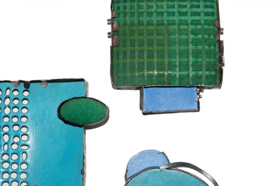 Enamel, Reversible, Brooches, Blue and Green