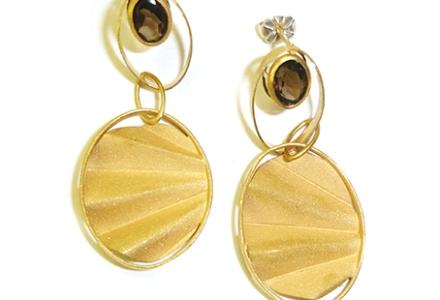 Earrings, Smokey Quartz, Smoky Quartz, Art Deco. 1930's, jewellery, jewelry, Gold Earrings, Kathryn Partington