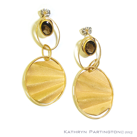 Earrings, Smokey Quartz, Smoky Quartz, Art Deco. 1930's, jewellery, jewelry, Gold Earrings, Kathryn Partington