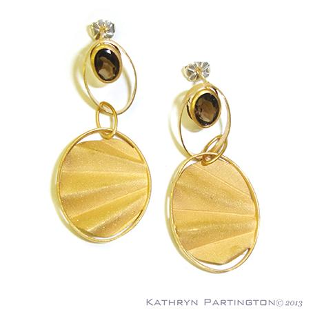 Earrings, Smokey Quartz, Smoky Quartz, Art Deco. 1930's, jewellery, jewelry, Gold Earrings