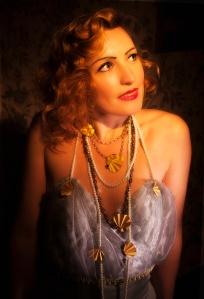 Milly_Winter, Jeweller_Kathryn_Partington, Photographer_Gareth_Partington_Jewellery, Art Deco, 1930's, Glamour, Betty Said, Earrings, Gold, Smokey Quartz, Pearls, Crystals, Necklace, Neckpieces