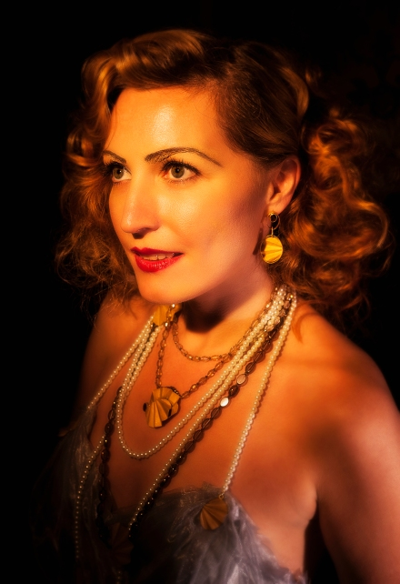 Milly_Winter, Jeweller_Kathryn_Partington, Photographer_Gareth_Partington_Jewellery, Art Deco, 1930's, Glamour, Betty Said, Earrings, Gold, Smokey Quartz, Pearls, Crystals, Necklace, Neckpieces