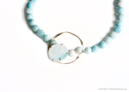 Ethereal Serene Necklace, Kathryn Partington, Silver, Bone China, Glaze, Hand engraved