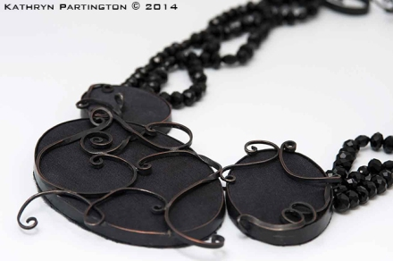 Jewellery, Necklace, Black Crystal, Scrollwork, Victorian. Gothic, Kathryn Partington, Milly Winter, Gareth Partington, Photography, Jewellery Photography, Black jewellery, Statement Jewellery, Black Silk