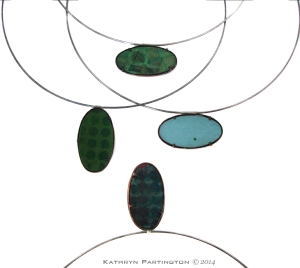 Reversible pendants, Enamel on Copper, Silver Choker, Cubic Zirconia by Kathryn Partington 2014 Green, Blue, Turquoise, Oval, Necklace, Pendants