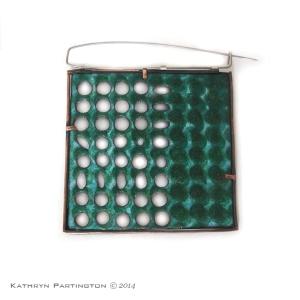 Reversible brooch, Enamel on Copper, Stainless Steel, Silver Side 1 by Kathryn Partington, Green, Blue, Turquoise, Squares, Dots, Spots, Ovals, Saw pierced, Pierced, Enamel