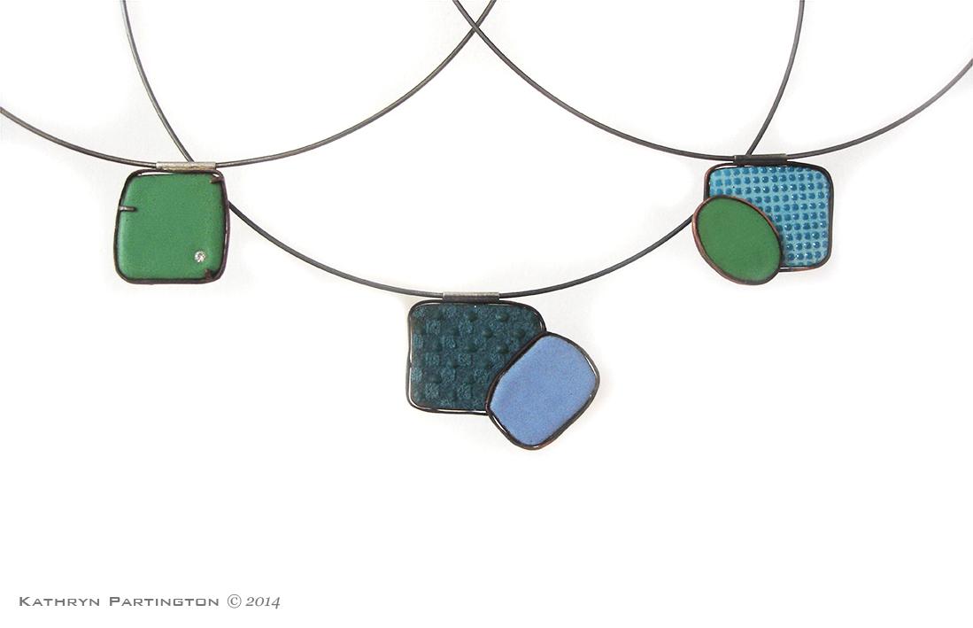 Reversible pendants, Enamel on Copper, Silver Choker, Cubic Zirconia, Choker, Green, Blue, Turquoise, Oval, Necklace, Pendants, Rectangles