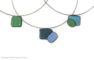 Reversible pendants, Enamel on Copper, Silver Choker, Cubic Zirconia by Kathryn Partington, Green, Blue, Turquoise, Oval, Necklace, Pendants, Rectangles