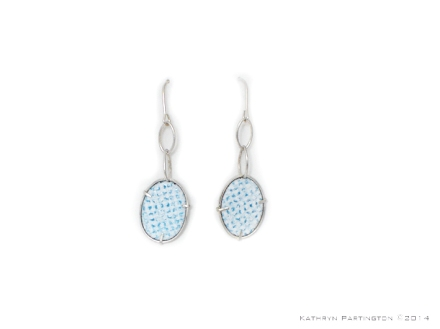 IcedGems, Earrings, Silver, Enamel, Dropper Earrings, Blue, White, Turquoise, blue white and turquiose