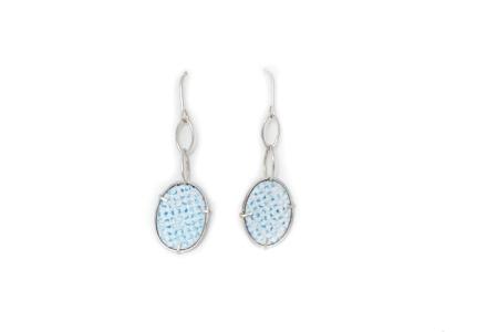 IcedGems, Earrings, Silver, Enamel, Dropper Earrings, Blue, White, Turquoise, blue white and turquiose