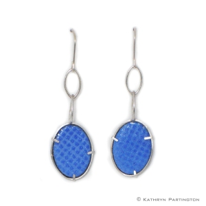 IcedGems, Blue, Enamel, Vitreous Enamel, Silver, Grid Design, Kathryn Partington