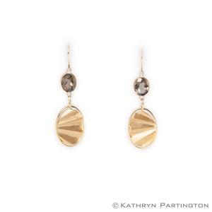 Earrings, Gold, Gold plated, Smokey Quartz, Glamorous Earrings,