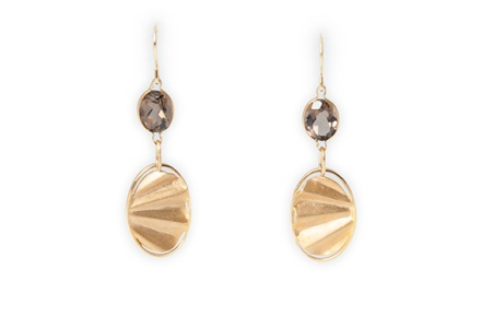 Earrings, Gold, Gold plated, Smokey Quartz, Glamorous Earrings,