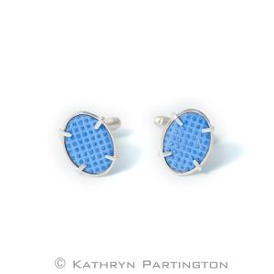 IcedGems, Cufflinks, Blue, Grid Design, Kathryn Partington, Enamel, Blue