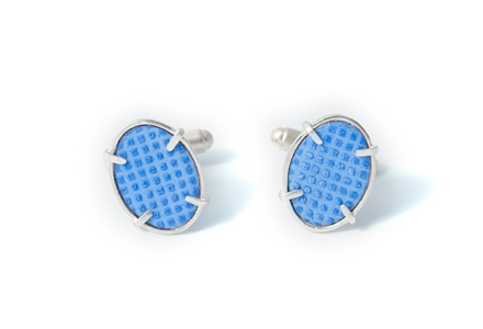 IcedGems, Cufflinks, Blue, Grid Design, Kathryn Partington, Enamel, Blue