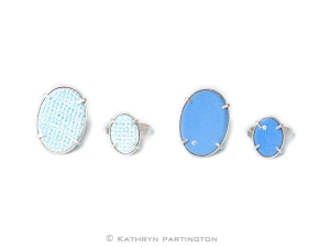 Iced Gems, Silver, Enamel, Blue, Turquoise, White, Cubic Zirconia, Vitreous Enamel, Grid Design,