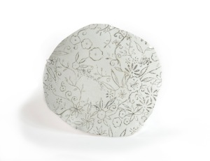Slip cast Bone China, Bone China, Ethereal, Brooch, Brooches, Silk, Hand dyed, Screen printed, Textile jewellery, Neckpiece, Fine Silver, Brooch, Iridescent, Floral