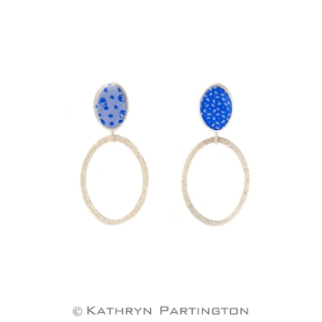 Drop Earrings, Blue, Blue Summer, Summer Blue, Silver, Fine Silver, Kathryn Partington jewellery, screen print, textile jewellery