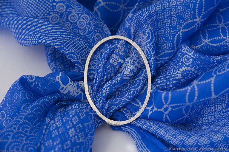 Seasons, Blue Summer, Soft Blue, Fine silver, Embossed silver, Japanese style print, Vibrant Blue, Silk scarf, scarf slider, textile jewellery