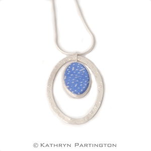 Seasons, Blue Summer, Soft Blue, Fine silver, Embossed silver, Japanese style print, Soft Blue, Silk scarf, pendant, textile jewellery