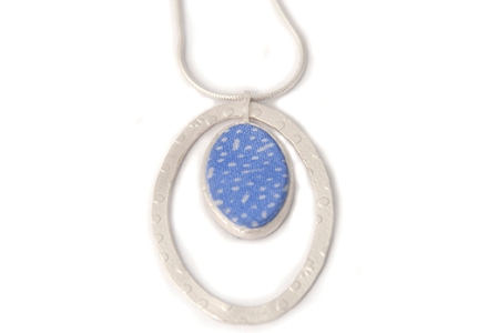 Seasons, Blue Summer, Soft Blue, Fine silver, Embossed silver, Japanese style print, Soft Blue, Silk scarf, pendant, textile jewellery