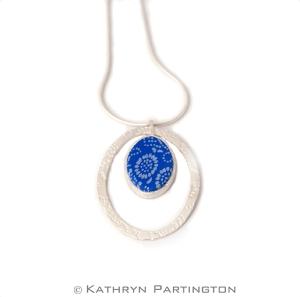 Seasons, Blue Summer, Soft Blue, Fine silver, Embossed silver, Japanese style print, Vibrant Blue, Silk scarf, pendant, textile jewellery