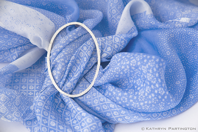 Seasons, Blue Summer, Soft Blue, Fine silver, Embossed silver, Japanese style print, Soft Blue, Silk scarf, scarf slider, textile jewellery